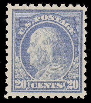 Cost of US Stamp Scott Cat. 438: 1914 20c Franklin Perf 10. Daniel Kelleher Auctions, Aug 2015, Sale 672, Lot 2730