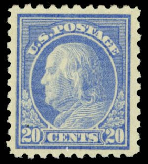 Prices of US Stamp Scott Cat. # 438 - 20c 1914 Franklin Perf 10. Daniel Kelleher Auctions, Jan 2015, Sale 663, Lot 1791
