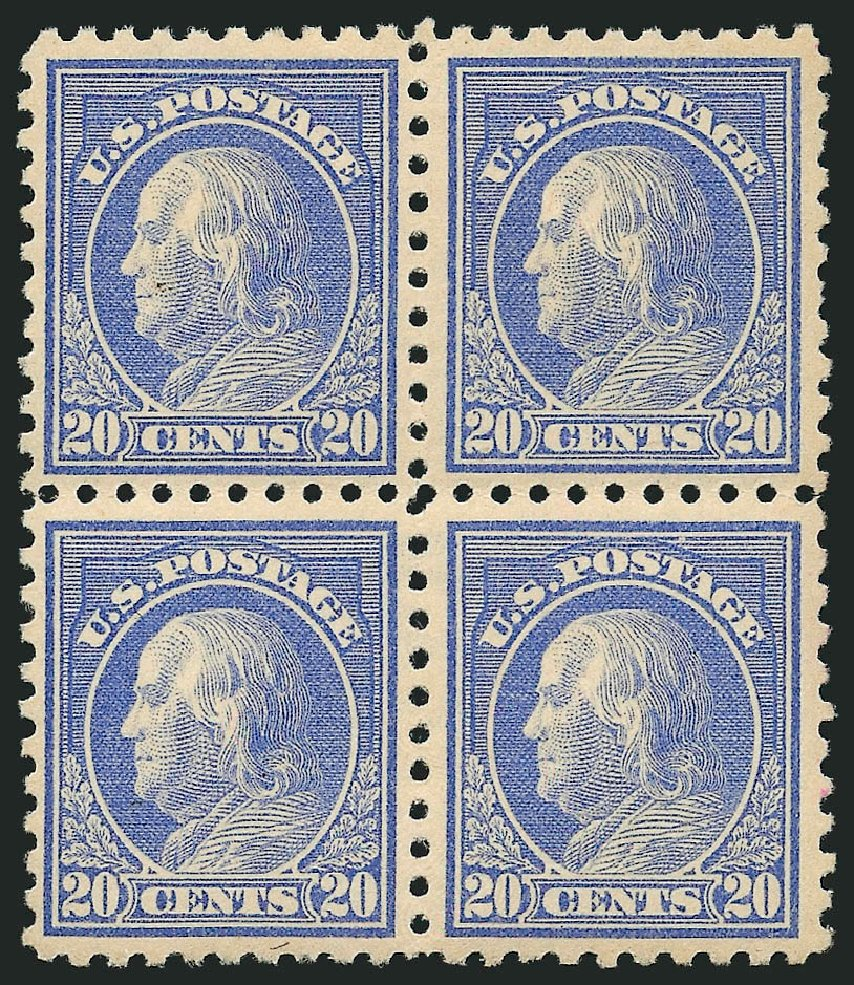 US Stamp Prices Scott Cat. 438: 20c 1914 Franklin Perf 10. Robert Siegel Auction Galleries, Apr 2015, Sale 1096, Lot 681