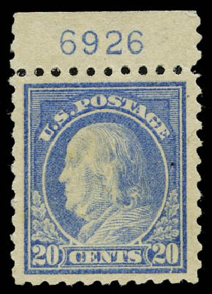 Value of US Stamps Scott Catalogue 438: 20c 1914 Franklin Perf 10. Daniel Kelleher Auctions, May 2015, Sale 669, Lot 3014