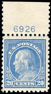 Values of US Stamp Scott #438 - 20c 1914 Franklin Perf 10. Schuyler J. Rumsey Philatelic Auctions, Apr 2015, Sale 60, Lot 2822