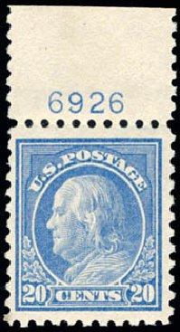 Values of US Stamp Scott #438 - 20c 1914 Franklin Perf 10. Schuyler J. Rumsey Philatelic Auctions, Apr 2015, Sale 60, Lot 2822