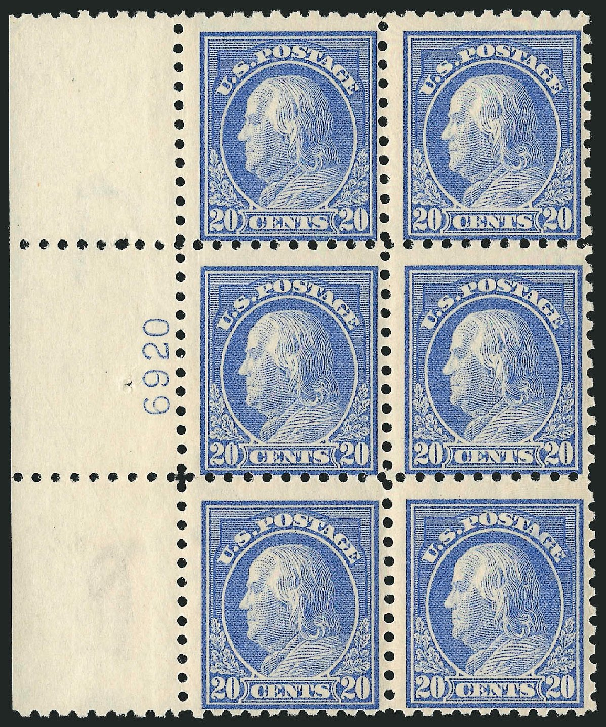 Cost of US Stamps Scott Catalog 438 - 20c 1914 Franklin Perf 10. Robert Siegel Auction Galleries, Apr 2015, Sale 1096, Lot 682