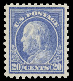 Costs of US Stamp Scott Catalog #438: 1914 20c Franklin Perf 10. Daniel Kelleher Auctions, May 2015, Sale 669, Lot 3013