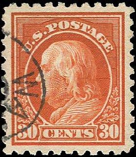 Values of US Stamp Scott 439: 30c 1914 Franklin Perf 10. Regency-Superior, Jan 2015, Sale 109, Lot 1217