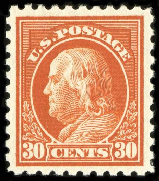 Values of US Stamp Scott Catalogue # 439: 1914 30c Franklin Perf 10. Spink Shreves Galleries, Jul 2015, Sale 151, Lot 298