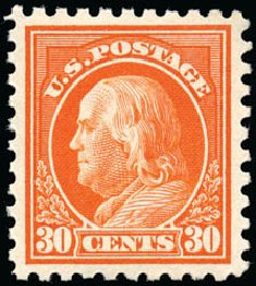 Value of US Stamps Scott Cat. #439: 30c 1914 Franklin Perf 10. Schuyler J. Rumsey Philatelic Auctions, Apr 2015, Sale 60, Lot 2389