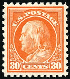 US Stamps Price Scott Cat. 439 - 1914 30c Franklin Perf 10. Schuyler J. Rumsey Philatelic Auctions, Apr 2015, Sale 60, Lot 2390