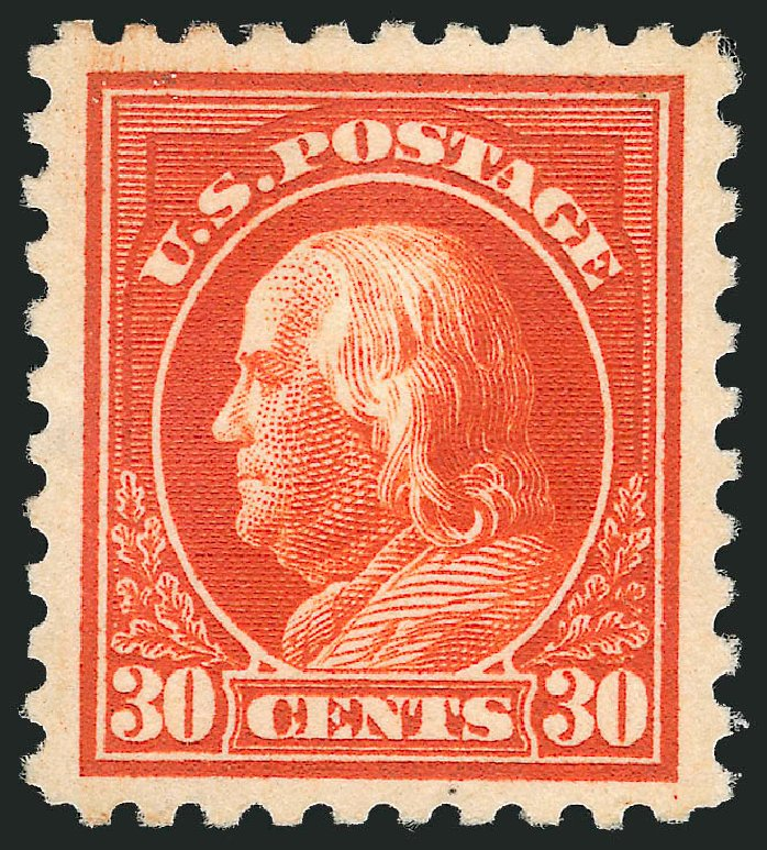 Cost of US Stamps Scott Catalog #439: 30c 1914 Franklin Perf 10. Robert Siegel Auction Galleries, Feb 2015, Sale 1093, Lot 310