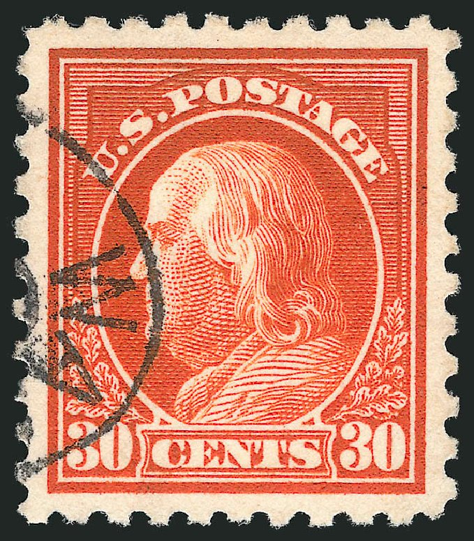 US Stamp Price Scott Catalogue #439: 30c 1914 Franklin Perf 10. Robert Siegel Auction Galleries, Jul 2015, Sale 1107, Lot 470
