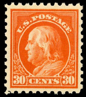US Stamps Value Scott # 439: 1914 30c Franklin Perf 10. Daniel Kelleher Auctions, Aug 2015, Sale 672, Lot 2731