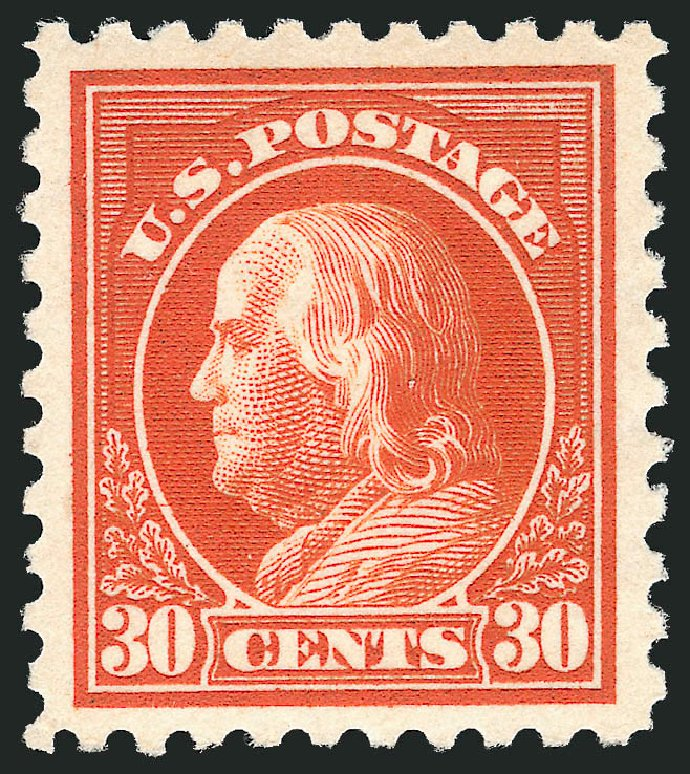 Cost of US Stamps Scott 439 - 1914 30c Franklin Perf 10. Robert Siegel Auction Galleries, Feb 2015, Sale 1093, Lot 311