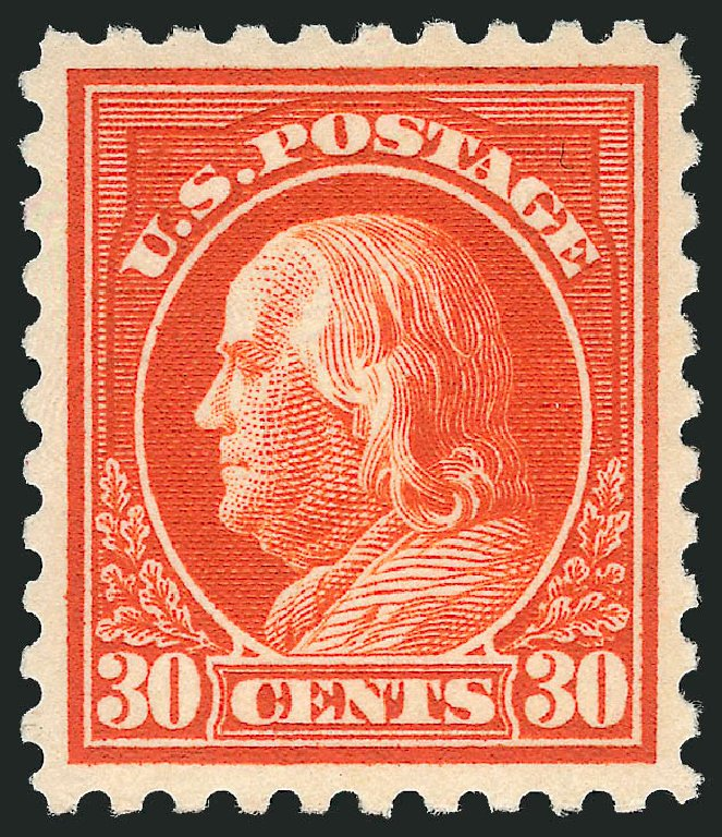 Costs of US Stamp Scott Cat. # 439: 30c 1914 Franklin Perf 10. Robert Siegel Auction Galleries, Feb 2015, Sale 1092, Lot 1315