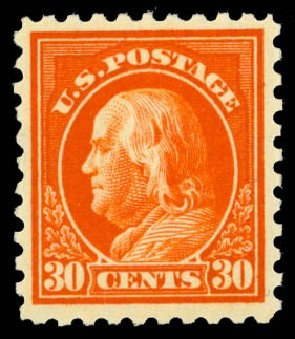 US Stamp Prices Scott Cat. # 439: 1914 30c Franklin Perf 10. Daniel Kelleher Auctions, Jan 2015, Sale 663, Lot 1792