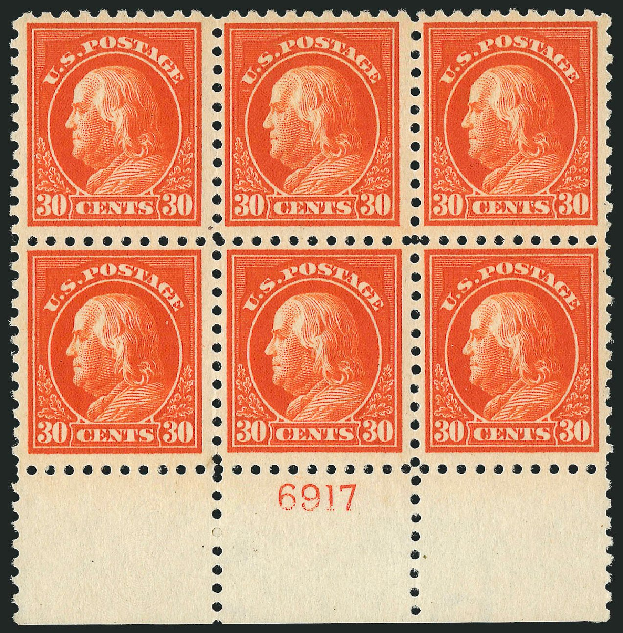 Value of US Stamps Scott Cat. 439 - 30c 1914 Franklin Perf 10. Robert Siegel Auction Galleries, Feb 2015, Sale 1093, Lot 312