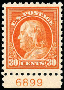 Values of US Stamp Scott Catalog #439 - 1914 30c Franklin Perf 10. Schuyler J. Rumsey Philatelic Auctions, Apr 2015, Sale 60, Lot 2823