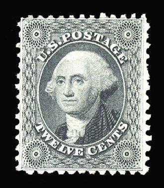 Value of US Stamps Scott Catalog # 44: 1875 12c Washington Reprint. Cherrystone Auctions, Mar 2013, Sale 201303, Lot 17