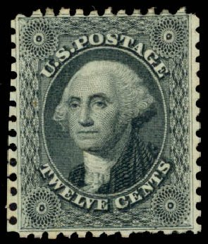 Values of US Stamps Scott Catalogue # 44 - 1875 12c Washington Reprint. Daniel Kelleher Auctions, Oct 2014, Sale 660, Lot 2071
