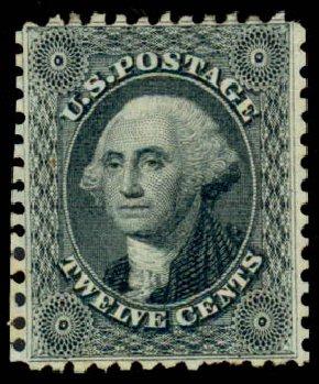 Values of US Stamps Scott # 44 - 1875 12c Washington Reprint. Daniel Kelleher Auctions, Sep 2013, Sale 639, Lot 3163