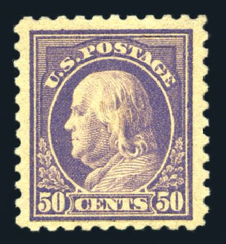 US Stamp Values Scott 440: 50c 1915 Franklin Perf 10. Harmer-Schau Auction Galleries, Aug 2015, Sale 106, Lot 1818