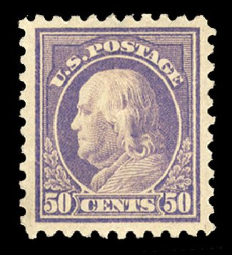 US Stamps Price Scott # 440: 50c 1915 Franklin Perf 10. Cherrystone Auctions, Mar 2015, Sale 201503, Lot 50