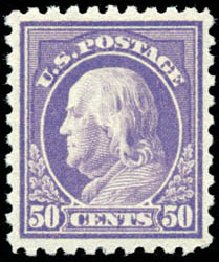 US Stamps Value Scott # 440 - 50c 1915 Franklin Perf 10. Schuyler J. Rumsey Philatelic Auctions, Apr 2015, Sale 60, Lot 2391