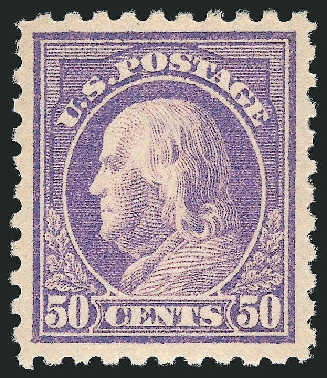 US Stamps Values Scott 440: 50c 1915 Franklin Perf 10. Robert Siegel Auction Galleries, Apr 2015, Sale 1096, Lot 685