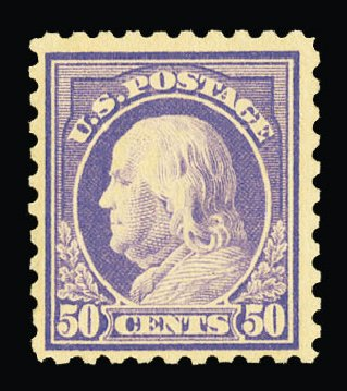 US Stamps Value Scott Catalog # 440: 50c 1915 Franklin Perf 10. Cherrystone Auctions, Jul 2015, Sale 201507, Lot 2152
