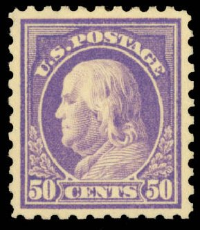 US Stamps Prices Scott Cat. #440: 50c 1915 Franklin Perf 10. Daniel Kelleher Auctions, Aug 2015, Sale 672, Lot 2732