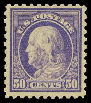 Value of US Stamp Scott Cat. # 440: 50c 1915 Franklin Perf 10. Daniel Kelleher Auctions, May 2015, Sale 669, Lot 3016