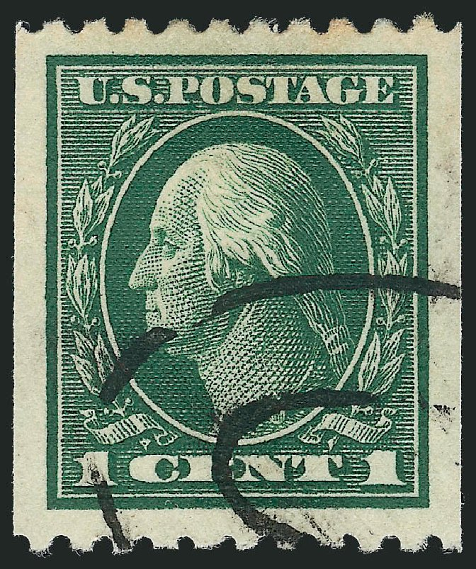 Cost of US Stamps Scott Catalog 441: 1c 1914 Washington Coil Perf 10 Horizontally. Robert Siegel Auction Galleries, Oct 2012, Sale 1032, Lot 3538