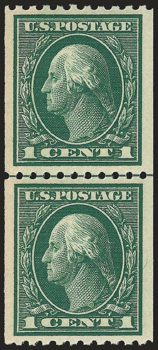 US Stamp Price Scott Catalog 441 - 1914 1c Washington Coil Perf 10 Horizontally. Robert Siegel Auction Galleries, Sep 2009, Sale 968B, Lot 558