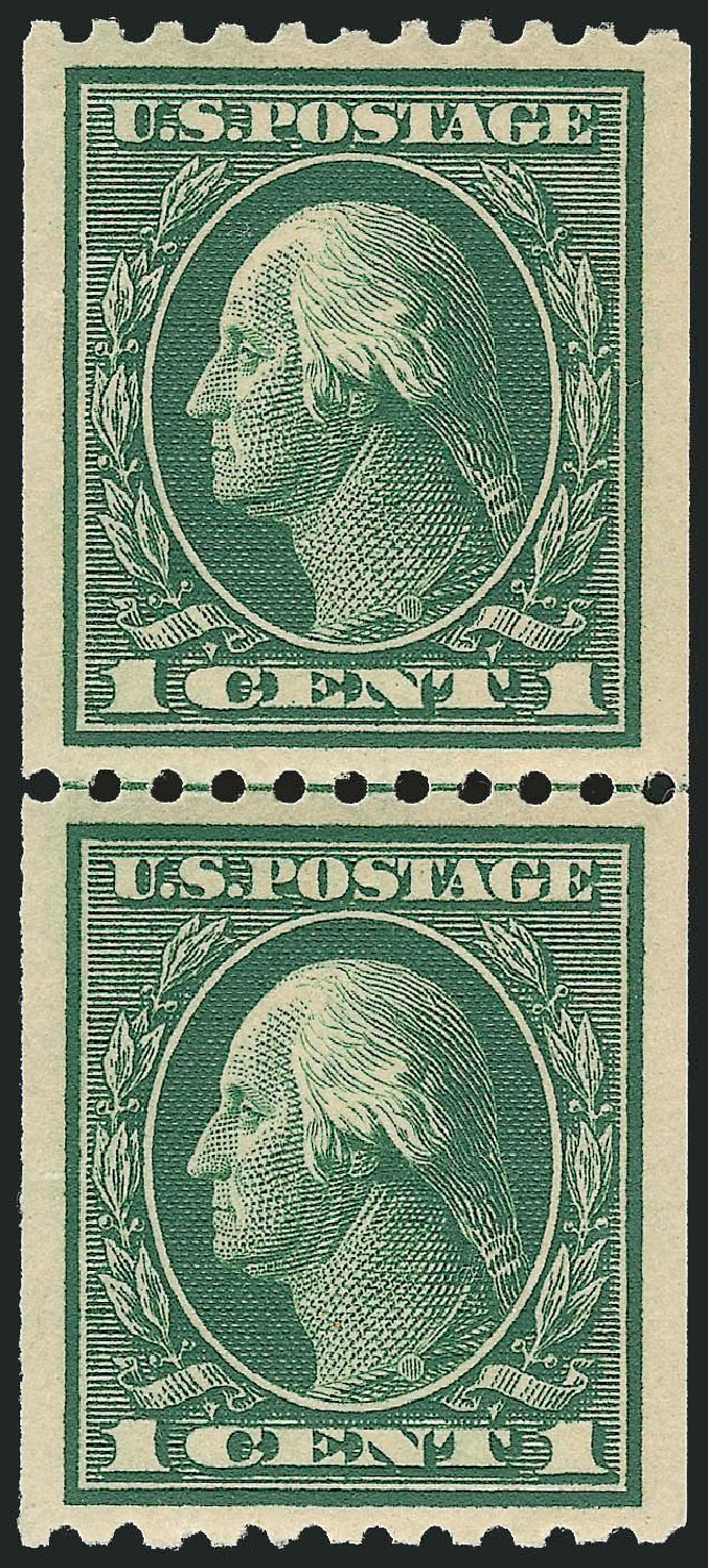 US Stamp Price Scott 441: 1c 1914 Washington Coil Perf 10 Horizontally. Robert Siegel Auction Galleries, Dec 2013, Sale 1062, Lot 622
