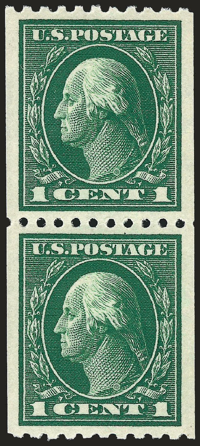 US Stamp Price Scott # 441 - 1c 1914 Washington Coil Perf 10 Horizontally. Robert Siegel Auction Galleries, Dec 2008, Sale 967, Lot 4773