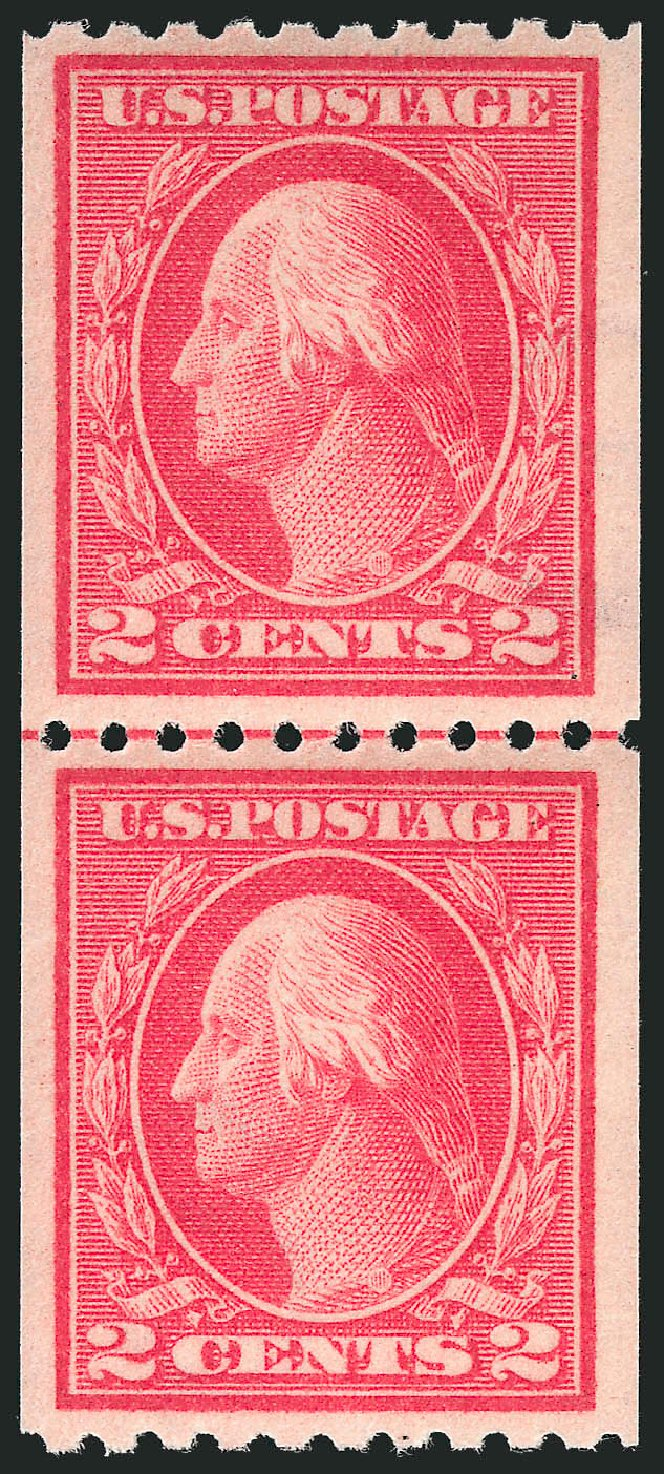 US Stamp Values Scott # 442 - 2c 1914 Washington Coil Perf 10 Horizontally. Robert Siegel Auction Galleries, Feb 2015, Sale 1093, Lot 317