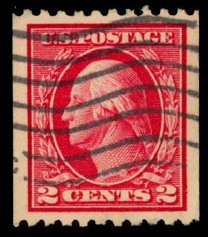 US Stamps Prices Scott Catalog 442: 1914 2c Washington Coil Perf 10 Horizontally. Daniel Kelleher Auctions, Dec 2013, Sale 640, Lot 381