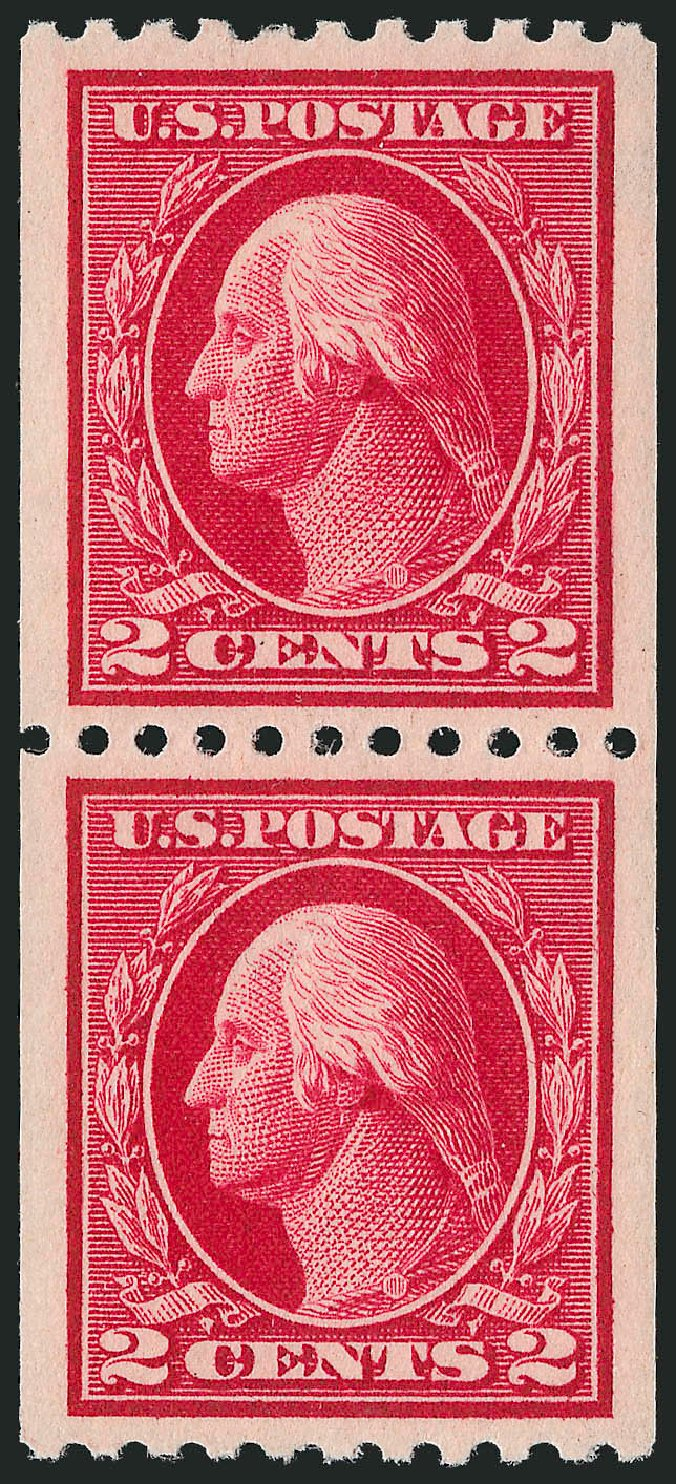 US Stamps Prices Scott 442: 1914 2c Washington Coil Perf 10 Horizontally. Robert Siegel Auction Galleries, Nov 2012, Sale 1034, Lot 411