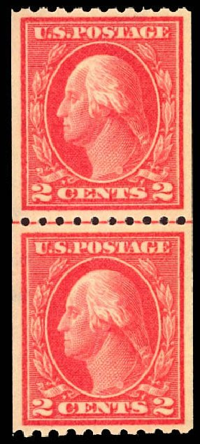 US Stamps Prices Scott Catalog # 442: 1914 2c Washington Coil Perf 10 Horizontally. Daniel Kelleher Auctions, Dec 2012, Sale 633, Lot 784