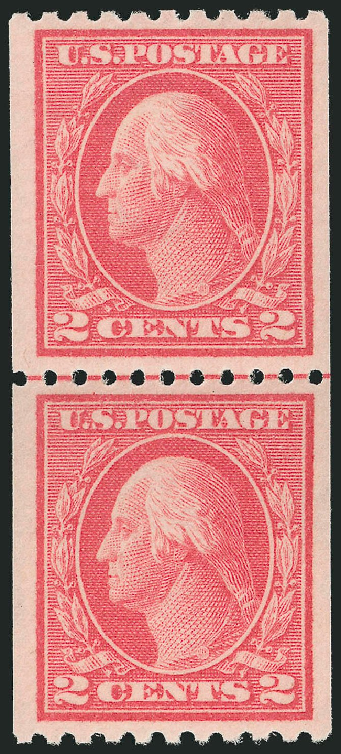 Values of US Stamps Scott Catalog # 442: 2c 1914 Washington Coil Perf 10 Horizontally. Robert Siegel Auction Galleries, Dec 2013, Sale 1062, Lot 624