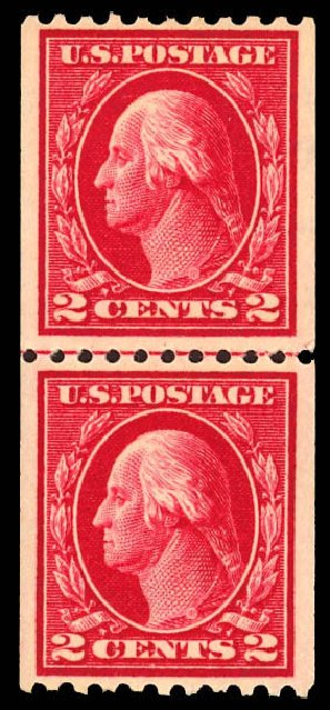US Stamps Value Scott Catalog # 442 - 1914 2c Washington Coil Perf 10 Horizontally. Daniel Kelleher Auctions, Dec 2012, Sale 633, Lot 785