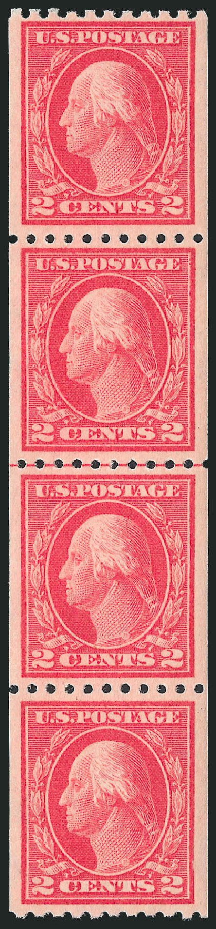 Prices of US Stamp Scott Cat. #442 - 1914 2c Washington Coil Perf 10 Horizontally. Robert Siegel Auction Galleries, Jun 2012, Sale 1026, Lot 1415