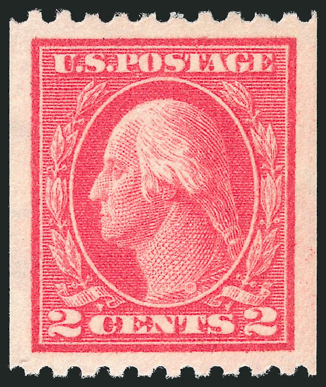 Prices of US Stamp Scott Catalogue 442 - 1914 2c Washington Coil Perf 10 Horizontally. Robert Siegel Auction Galleries, Nov 2012, Sale 1034, Lot 412