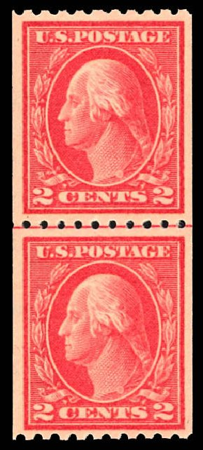 Costs of US Stamps Scott Catalogue #442 - 1914 2c Washington Coil Perf 10 Horizontally. Daniel Kelleher Auctions, Dec 2012, Sale 633, Lot 786
