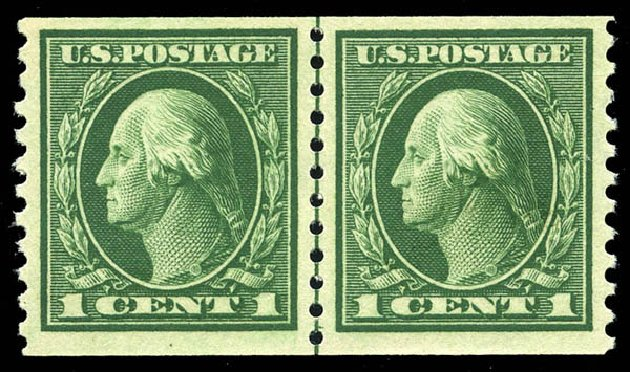 US Stamp Price Scott Cat. 443 - 1c 1914 Washington Coil Perf 10 Vertically. Matthew Bennett International, May 2014, Sale 350, Lot 587