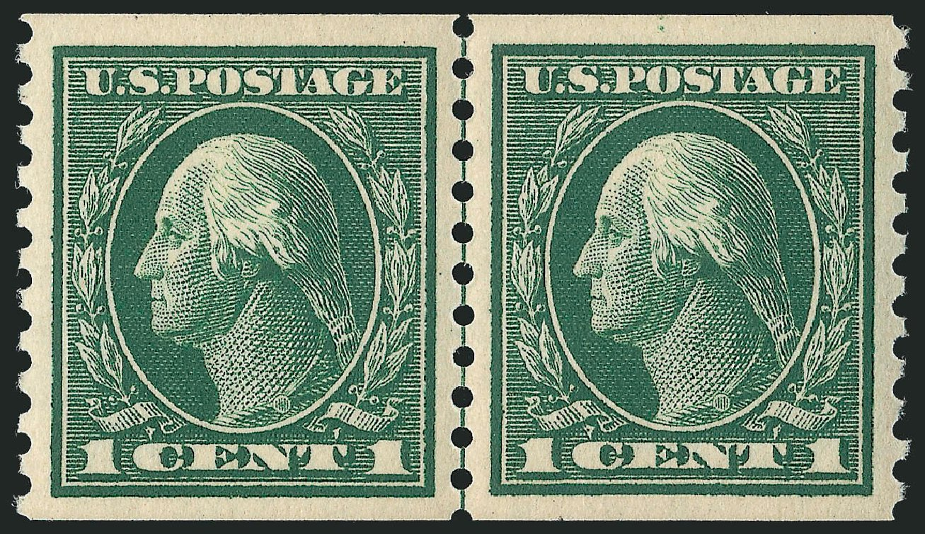 Cost of US Stamps Scott Catalogue # 443: 1914 1c Washington Coil Perf 10 Vertically. Robert Siegel Auction Galleries, Feb 2015, Sale 1093, Lot 318