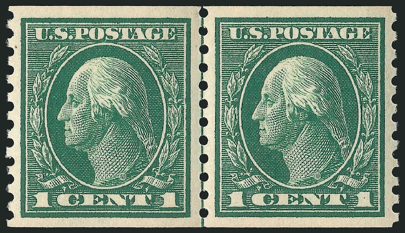 Prices of US Stamps Scott Catalogue 443: 1c 1914 Washington Coil Perf 10 Vertically. Robert Siegel Auction Galleries, Apr 2015, Sale 1096, Lot 688