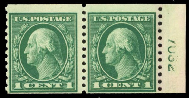 Value of US Stamps Scott Catalogue # 443 - 1c 1914 Washington Coil Perf 10 Vertically. Daniel Kelleher Auctions, Sep 2014, Sale 655, Lot 490