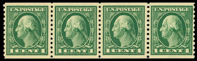 US Stamp Value Scott Catalogue #443: 1914 1c Washington Coil Perf 10 Vertically. Daniel Kelleher Auctions, May 2014, Sale 652, Lot 635
