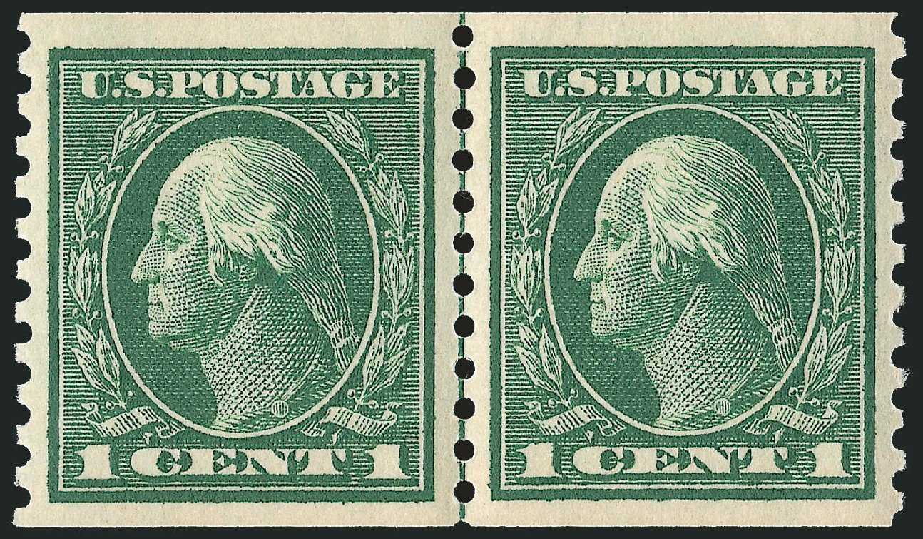 US Stamp Prices Scott Cat. # 443 - 1914 1c Washington Coil Perf 10 Vertically. Robert Siegel Auction Galleries, Dec 2013, Sale 1062, Lot 625