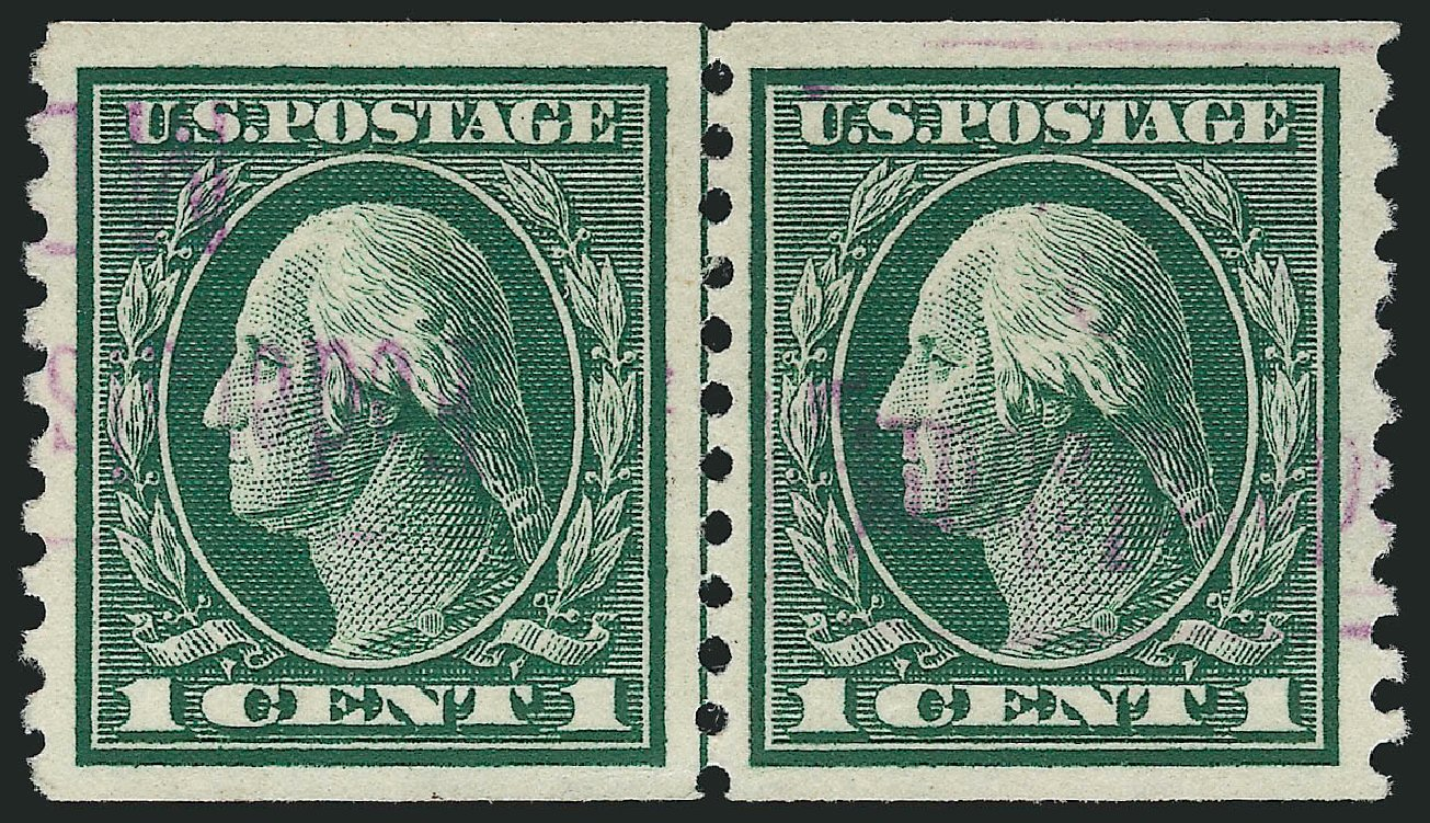 Values of US Stamps Scott Cat. #443: 1914 1c Washington Coil Perf 10 Vertically. Robert Siegel Auction Galleries, Sep 2014, Sale 1078, Lot 535